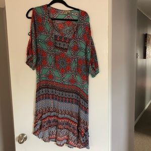Boho hippie floral mandala 3/4 sleeve dress